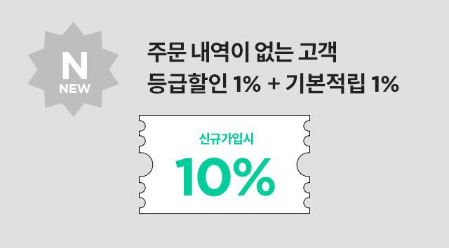 NEW : 주문 내역이 없는 고객 - 등급할인 1%+기본적립 1%