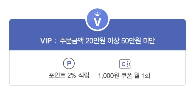 VIP : 주문금액 20만원 이상 50만원 미만 - 전상품 2%할인, 포인트 2%적립, 1,000원 쿠폰 월1회