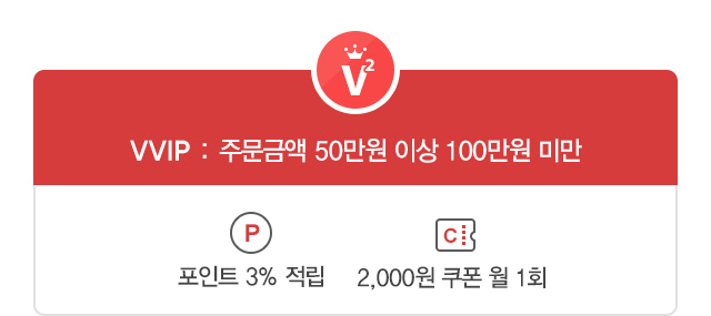 VVIP : 주문금액 50만원 이상 100만원 미만 - 전상품 3%할인, 포인트 3%적립, 2,000원 쿠폰 월1회