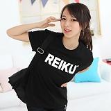 [레이쿠]REIKU - reiku white typo logo-short (black) 반팔티