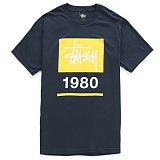 [������]STUSSY - SS STOCK BOX TEE (NAVY/YELLOW) ����Ƽ