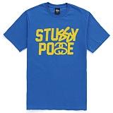 [������]STUSSY - SS STUSSY POSSE TEE (BLUE/FLOURESCENT YELLOW) ����Ƽ