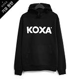 [코싸] koxa white logo-black hood-K 기모 후드티