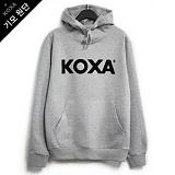 [코싸] koxa black logo-gray hood-K 기모 후드티