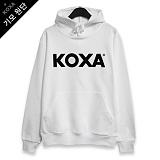 [코싸] koxa black logo-white hood-K 기모 후드티