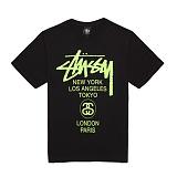[������]STUSSY - 14SS WORLD TOUR TEE 1903266 (BLACK/GREEN) ������� ����Ƽ