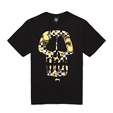 [������]STUSSY - 14SS FLOWER CHECK SKULL TEE 1903226 (BLACK/YELLOW) ����Ƽ