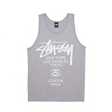 [������]STUSSY - 14SS WORLD TOUR TANK 1933266 (Grey Heather) ������� ����Ƽ