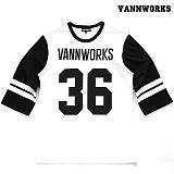 [밴웍스] VANNWORKS - 36 풋볼 티셔츠 - 화이트_풋볼티_럭비티