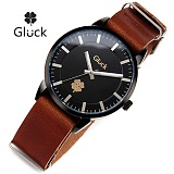 [Gluck]글륵 행운의 시계 GL1302-BKBR 가죽 나토밴드 본사정품 수능시계