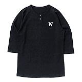 [위씨] WISSY - 베이직 베이스볼 3/4 헨리넥(블랙)_풋볼티 럭비티 반팔티