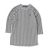 [위씨] WISSY - 스트라이프 베이스볼 티셔츠(그레이/블랙)_풋볼티_럭비티 반팔티