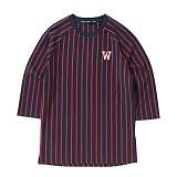 [위씨] WISSY - 스트라이프 베이스볼 티셔츠(네이비/레드)_풋볼티,럭비티 반팔티