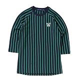 [위씨] WISSY - 스트라이프 베이스볼 티셔츠(네이비/그린)_풋볼티,럭비티 반팔티