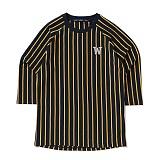 [위씨] WISSY - 스트라이프 베이스볼 티셔츠(네이비/옐로우)_풋볼티,럭비티 반팔티