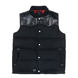 STIGMA - LEATHER GOOSE DOWN PADDING VEST BLACK_패딩베스트_패딩조끼