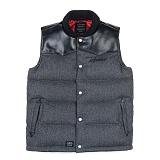 [스티그마]STIGMA - LEATHER GOOSE DOWN PADDING VEST GREY_패딩베스트_패딩조끼