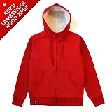 [레이쿠] reiku lambswool hood zipup red 양털후드집업