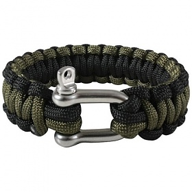 [로스코]ROTHCO - D-SHACKLE PARACORD BRACELET BLACK+OLIVE DRAB 팔찌