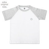 [레이쿠키즈] reiku kids symbol two tone short gray-w 배색 반팔티