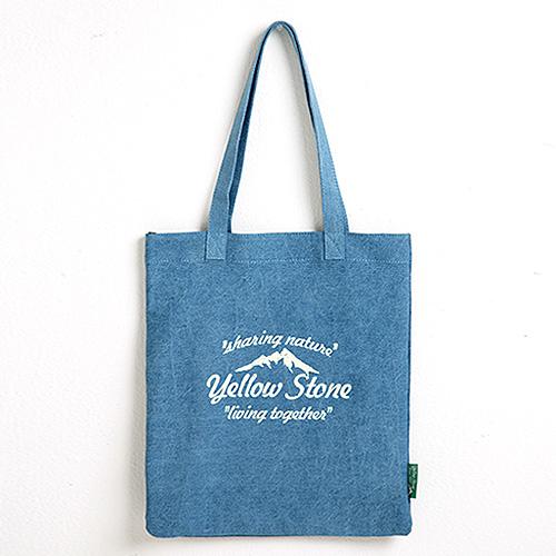 [옐로우스톤] 데님 에코백 denim eco bag - YS2015SB 스카이블루 폰트 가방 토트백 숄더백