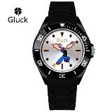 [Gluck] 글륵 행운의 뽀빠이 캐릭터 시계 GL3606-BKBK 본사정품