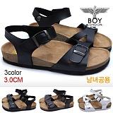 [보이런던]BOYLONDON-J431 폴스 샌달(블랙)-남녀공용 캐주얼 버켄 남자 여자 슬리퍼 조리 여름 신발