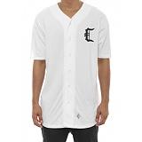 [크룩스앤캐슬]CROOKS & CASTLES Mens Knit Baseball Jersey - Stadium C WHT 반팔 반팔져지 베이스볼져지