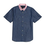 [블랙스케일]BLACK SCALE Millington Button Down BLUE cotton 반팔 셔츠 남방