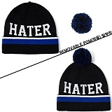 [헤이터] HATER 볼러 방울 비니 블랙 BALLER REMOVABLE POM BLACK BEANIE (BLACK)