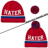 [헤이터] HATER 볼러 방울 비니 레드 BALLER REMOVABLE POM RED BEANIE (RED)