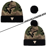[헤이터] HATER 카모 블랙 방울 비니 CAMO REMOVABLE POM BLACK BEANIE (CAMO)