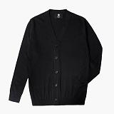 [니티드] KNITTED - Merinowool Basic Solid Cardigan [Black]_가디건