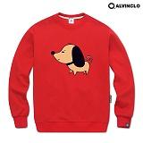 [앨빈클로]ALVINCLO MAR-759R 자수로 포인트를 준 강아지 맨투맨 크루넥 스��셔츠