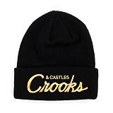 [크룩스앤캐슬]CROOKS & CASTLES Knit Beanie - Team Crooks (Black) 모자 비니