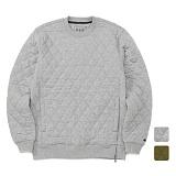 [언리미트]Unlimit - Quilt Crew Sweat (AE-C034) 퀄팅 지퍼 맨투맨 크루넥 스��셔츠