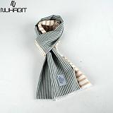 뉴해빗 - stripe harf - 머플러 - 그레이/베이지