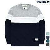 [크루클린] CROOKLYN 3배색 맨투맨 티셔츠 MRL426 크루넥 스��셔츠