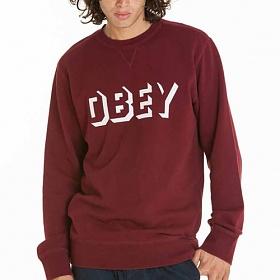 ※[오베이]OBEY - DROPOUT CREW 111600061 (BURGUNDY) 로고 쭈리 스��셔츠 맨투맨 크루넥