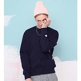 [버닝] Burning - BASIC Side Embroidery sweatshirt (NAVY)_스��셔츠 커플맨투맨 크루넥 네이비