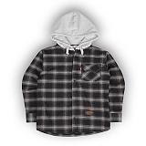 [언더에어] UNDERAIR  Flannel Hoodie Shrits - Black/Grey - Grey 후드셔츠 후드남방