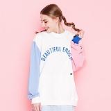 [기모 추가] [모티브스트릿] MOTIVESTREET - COLOR BLOCK SWEAT SHIRT IVORY_ 컬러 블록 맨투맨 크루넥 스��셔츠