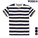 [크루클린] CROOKLYN 스트라이프 헨리넥 반팔 티셔츠 THS170 반팔티