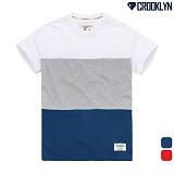 [크루클린] CROOKLYN 3 배색 반팔 티셔츠 TRS178 반팔티