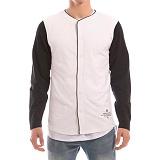 [크룩스앤캐슬]CROOKS & CASTLES Mens Knit L/S Baseball Top - 88 (White/Black) 맨즈 니트 베이스볼 자켓