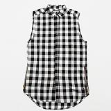 [플라잉나인티]FLYING NINETY - FNTY Zipper Buttondown Long Shirt BLK 지퍼 버튼 슬리브리스 셔츠