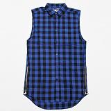 [플라잉나인티]FLYING NINETY - FNTY Zipper Buttondown Long Shirt BLUE 지퍼 버튼 슬리브리스 셔츠