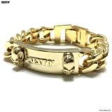 SEXTO - [Handmade]Simple Skull bracelet gold 체인팔찌 팔찌