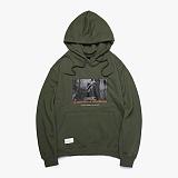 [피피피]PPP - FOUNTAIN SWEAT HOODIE (OLIVE) OVER FIT 오버핏 스웨트 후드티 티셔츠