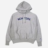 [챔피온]CHAMPION REVERSE WEAVE HOODED PULLOVER NEW YORK (GREY) 리버스 웨브 뉴욕 풀오버 후디 후드 정품 국내배송